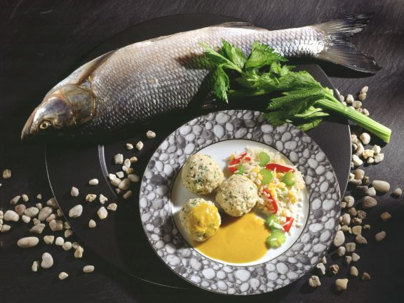 Fish Dumplings with Vegetable Rice and Curry Sauce