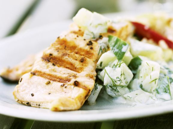 Fish Steak with Creamy Cucumber