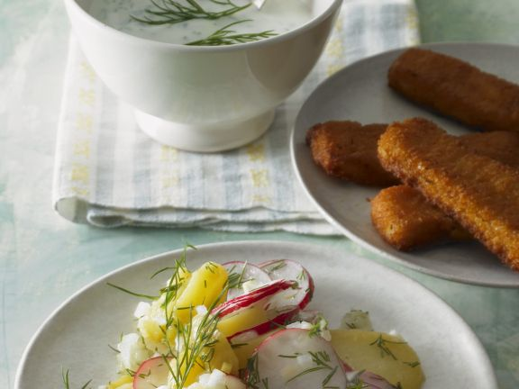 Fish Sticks and Potato Salad with Radishes