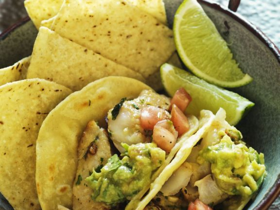 Fish Tacos with Tomatoes and Guacamole