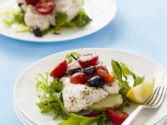Fish with Arugula and Tomatoes