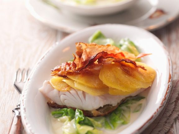Fish with Potato Crust, Bacon and Savoy Cabbage