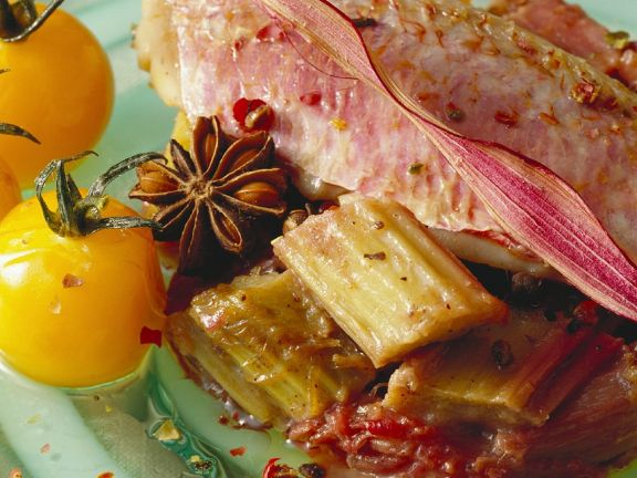 Fish with Tomatoes and Rhubarb-Wine Sauce