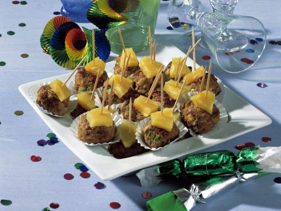 Five-spice and Feta Meatballs with Fresh Pineapple