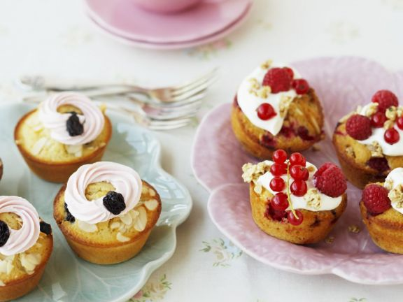 Flaked Nut and Fruit Individual Cakes