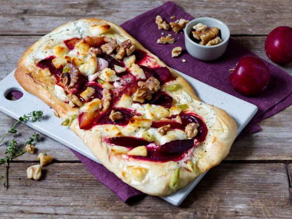Flatbread with Beets, Plums and Goat Cheese