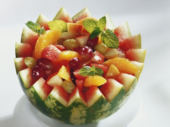 Fresh Fruit Salad in Melon Bowl