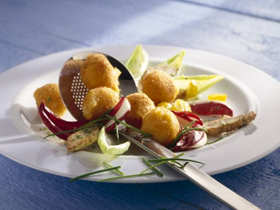 Fried Camembert Cheese Balls with Salad