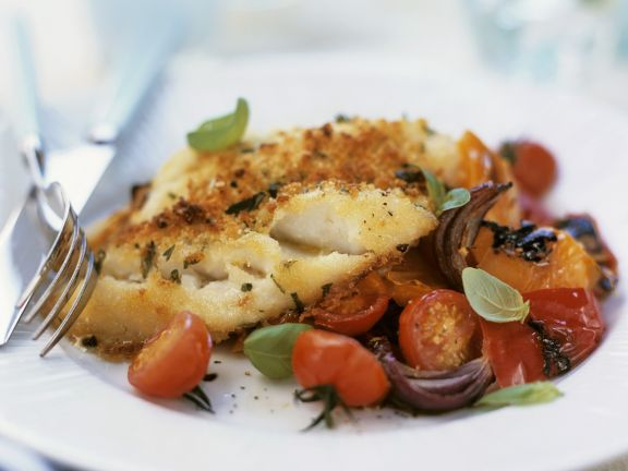 Fried Cod with Tomatoes