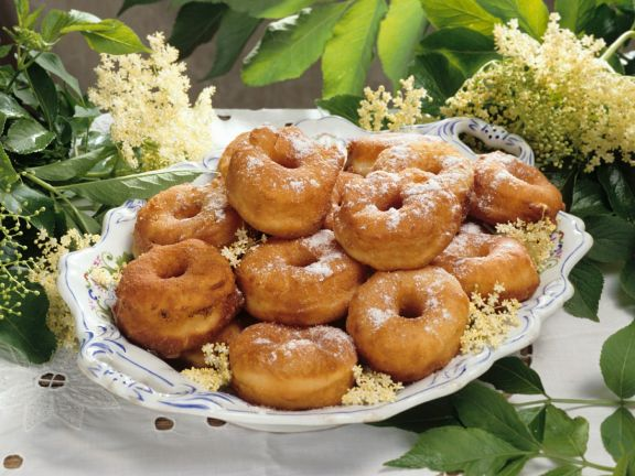 Fried Donuts with Elderberry Syrup