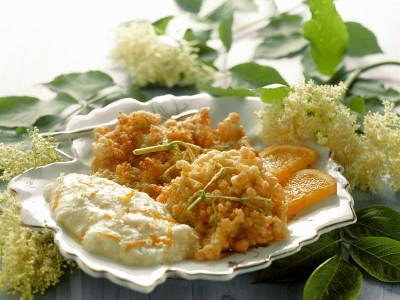 Fried Elderflower with Orange Cream