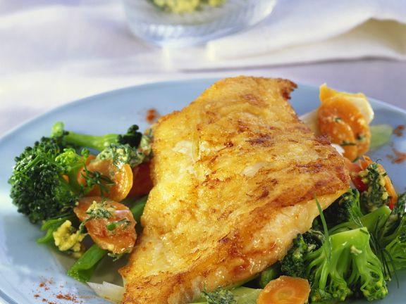 Fried Fish Fillet with Herbed Vegetables