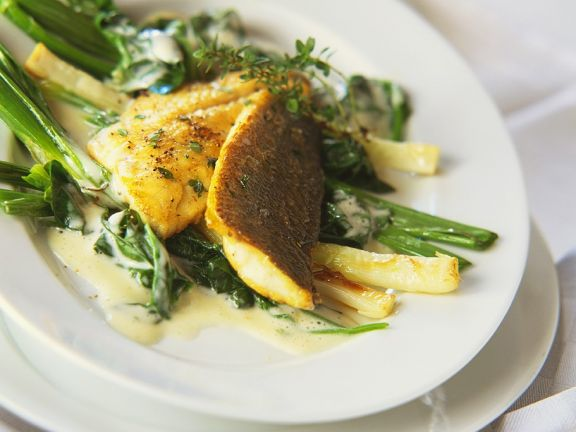 Fried Perch on Green Creamed Vegetables