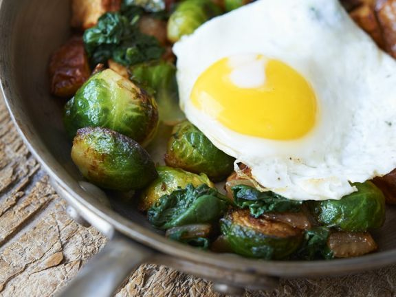 Fried Potatoes, Eggs and Sprouts