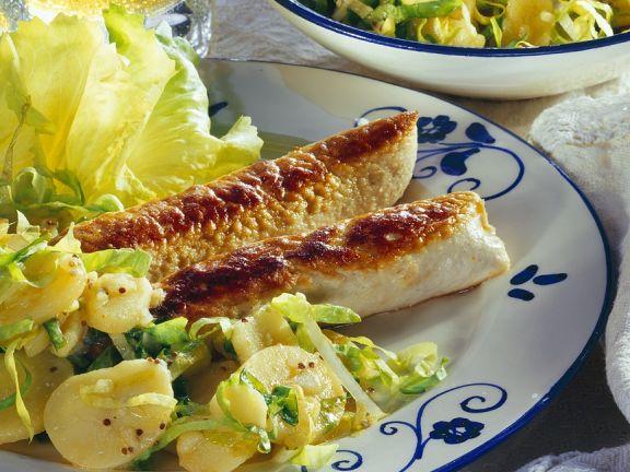 Fried Wollwurst with Potato Salad