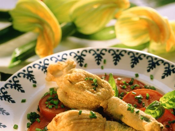 Fried Zucchini Flowers with Tomato and Feta Stuffing