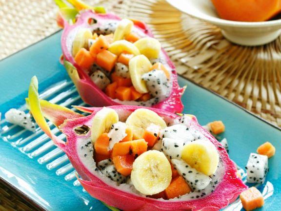 Fruit Salad with Dragonfruit and Papaya