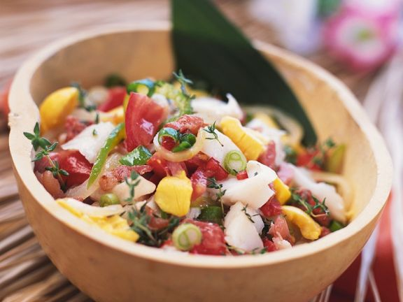 Fruity Tomato Salad with White Fish