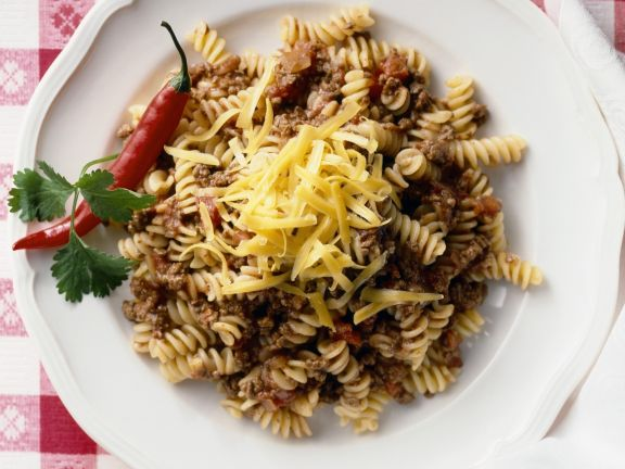 Fusilli with Spicy Bolognese and Emmentaler