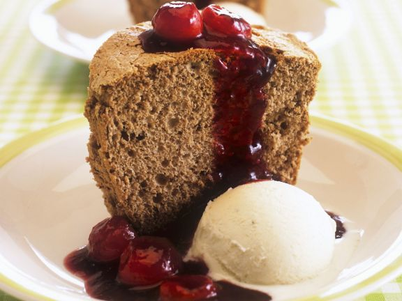 Gingerbread Honey Cake with Cherries and Vanilla Ice Cream