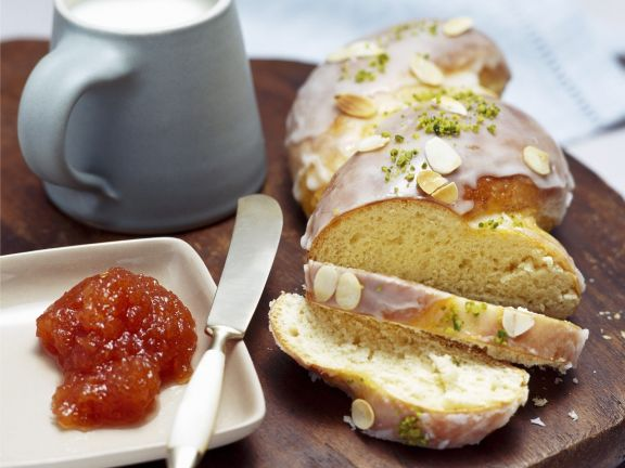 Glazed Braided Bread with Almonds and Pistachios