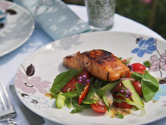 Glazed Salmon and Melon Salad
