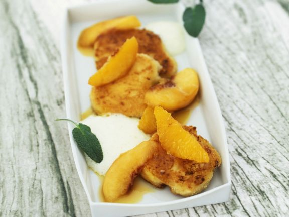 Goat Cheese Fritters with Peach Compote and Olive Oil Foam