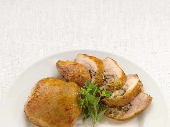 Golden chicken pieces with stuffing