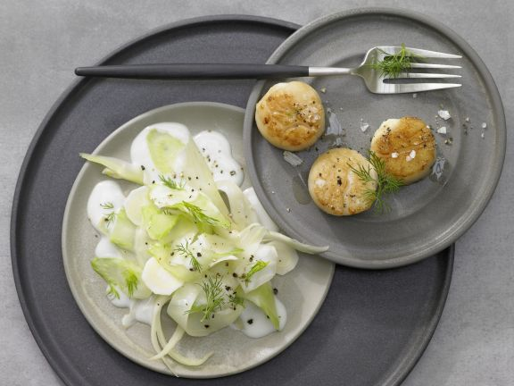 Golden Fried Scallops with Parsnips