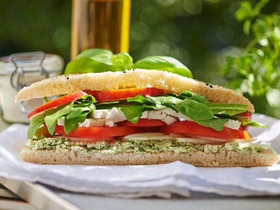 Greek Cheese and Salad Sandwich