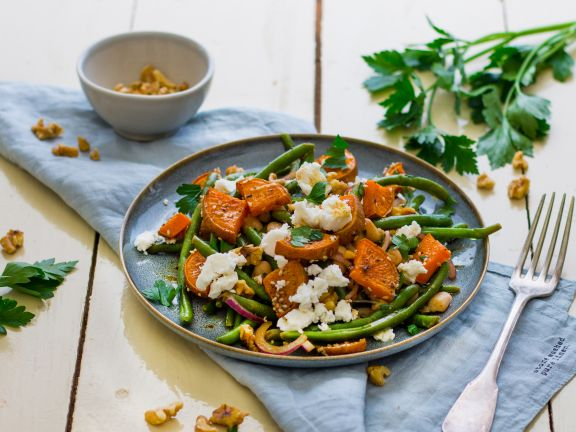 Green Bean Salad with Roasted Sweet Potato