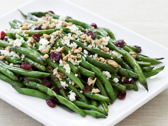 Green Beans with Toasted Walnuts, Cranberry, and Blue Cheese