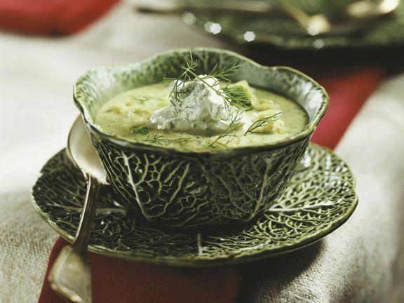 Green Cabbage Bisque with Herb Garnish