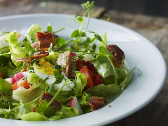 Green Salad with Hardboiled Egg and Bacon