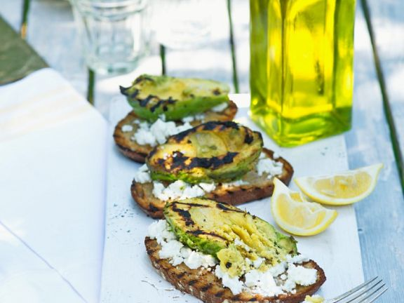 Grilled avocado toasts