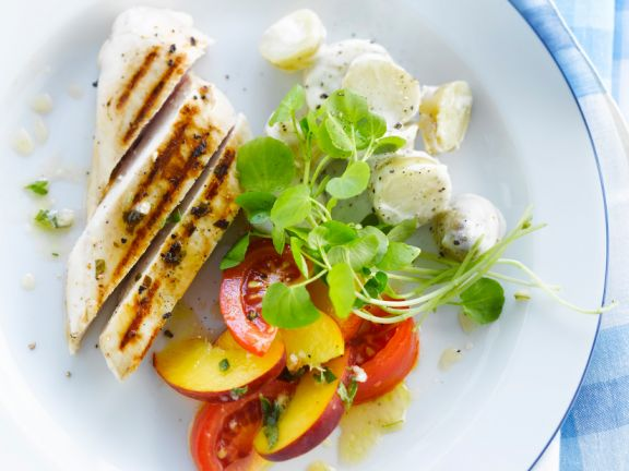 Grilled Chicken Breast with Potato Salad and Nectarines