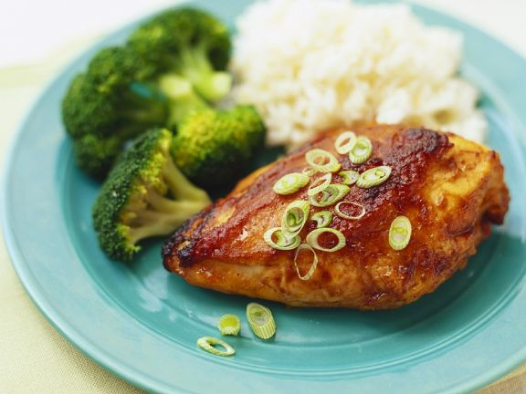 Grilled Chicken Breasts with Rice and Broccoli