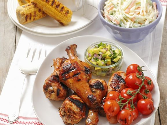 Grilled Chicken Legs with Tomatoes, Corn and Cole Slaw