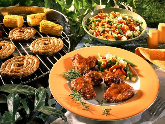 Grilled Chicken Wings, Sausages and Corn
