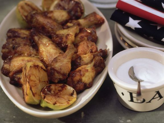 Grilled Chicken Wings with Honey Lime Dip