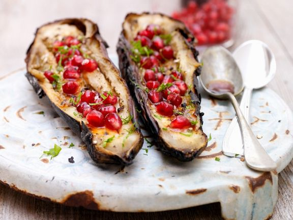 Grilled Eggplants with Pomegranate Seeds