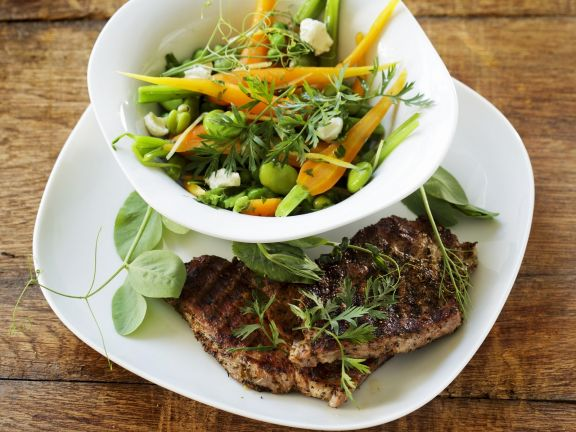 Grilled Herbed Pork Chops with Vegetable Medley