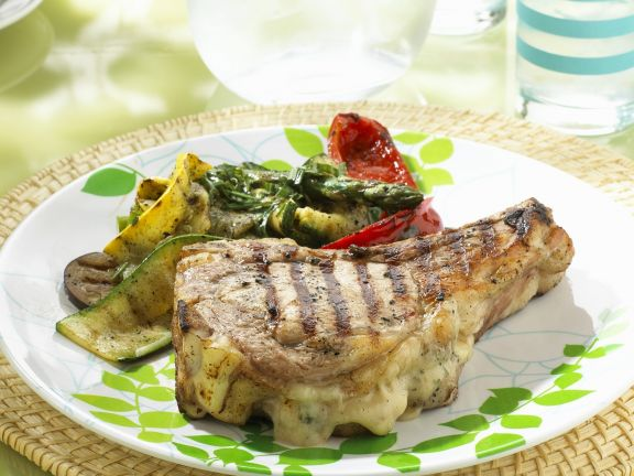 Grilled Lamb Chops with Gruyere Filling and Grilled Vegetables