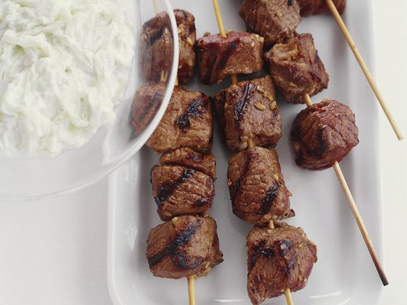 Grilled Lamb Skewers with Yogurt Sauce