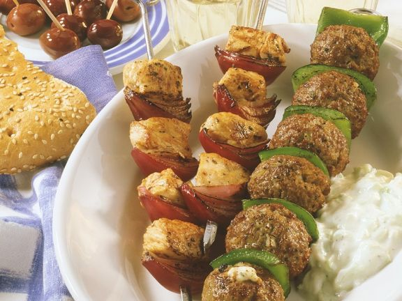 Grilled Meatball Skewers and Grilled Turkey Kebabs