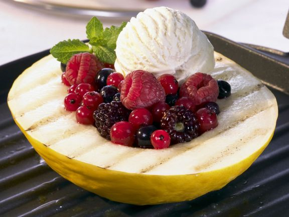 Grilled Melon with Berries and Vanilla Ice Cream
