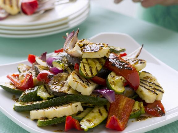 Grilled Mixed Vegetables and Cheese Slices