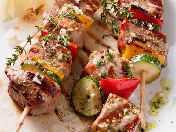 Grilled Pork and Vegetable Kebabs