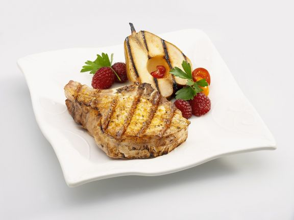 Grilled Pork Chops with Grilled Pears