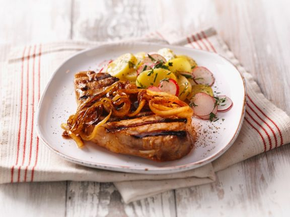 Grilled Pork with Mustard Onions